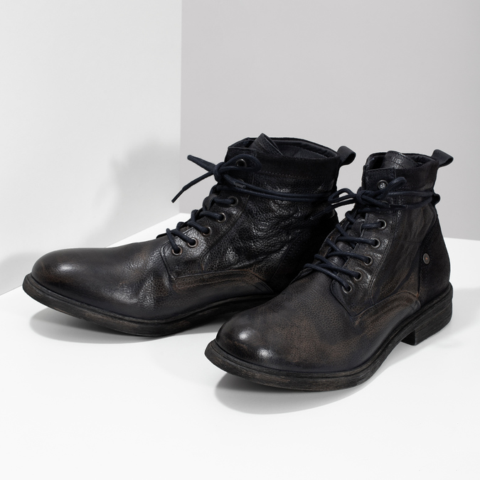 Pánská kožená kotníčková obuv bata, modrá, 896-9717 - 16