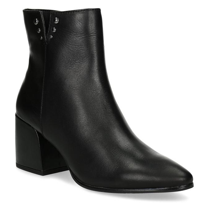 Černá kotníčková kožená obuv na podpatku bata, černá, 794-6658 - 13