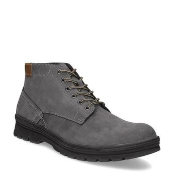 Šedá kotníčková obuv z broušené kůže weinbrenner, šedá, 896-2108 - 13