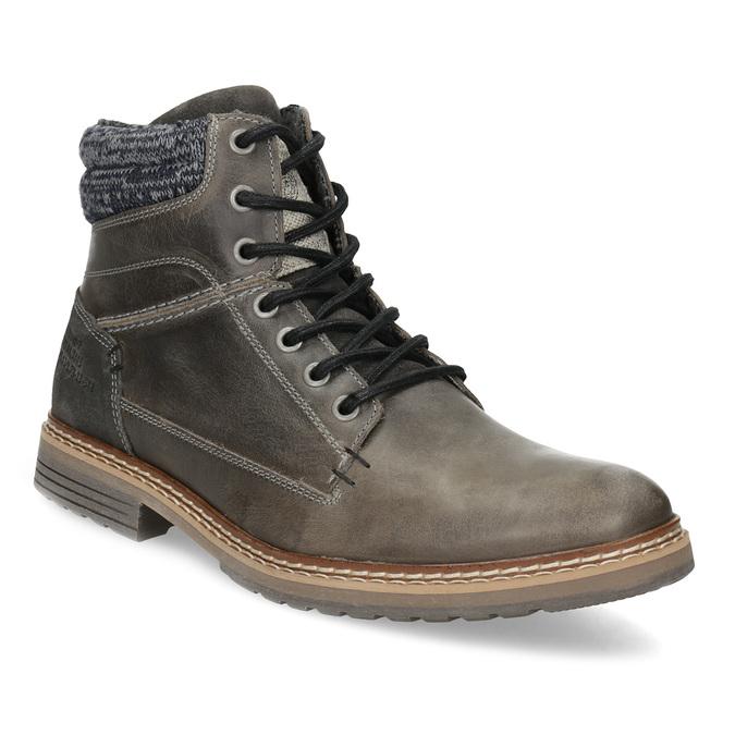 Kožená pánská kotníková obuv s úpletem bata, šedá, 896-2713 - 13