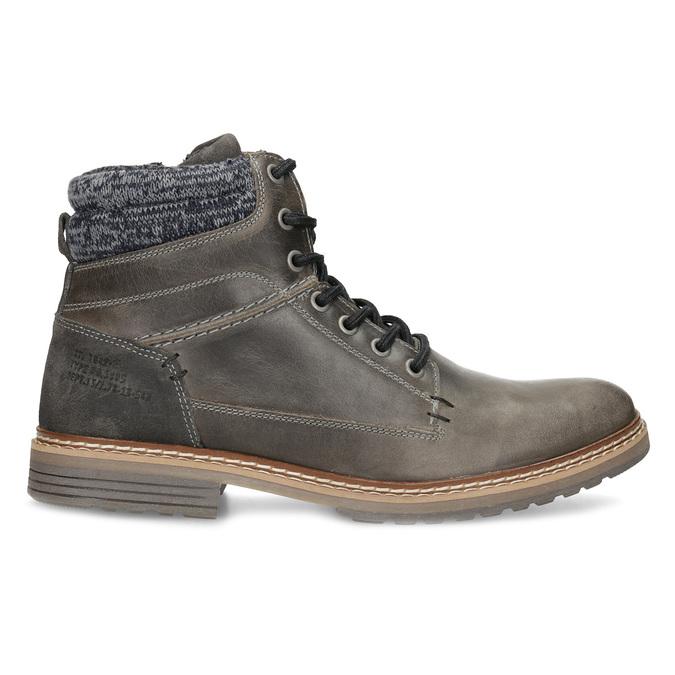 Kožená pánská kotníková obuv s úpletem bata, šedá, 896-2713 - 19