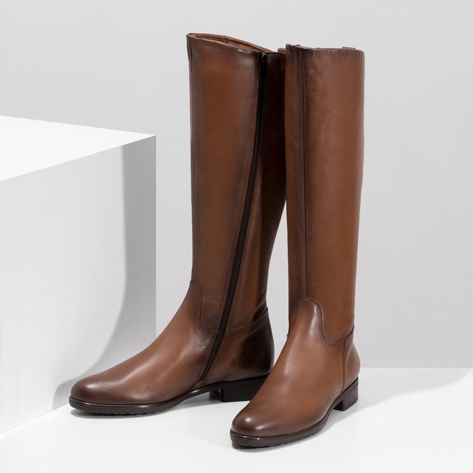 Kožené hnědé dámské kozačky bata, hnědá, 594-4675 - 16