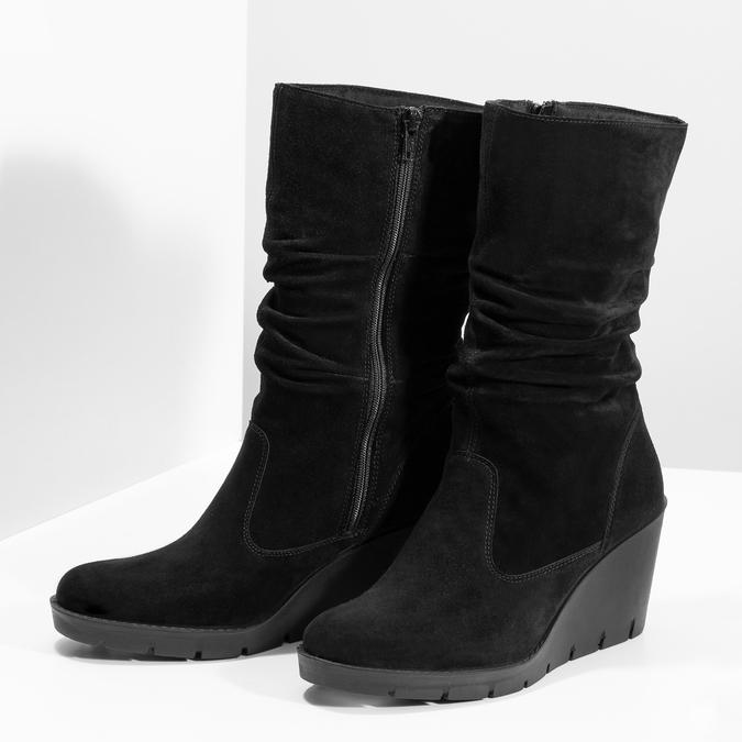 Kožené dámské kozačky na klínku bata, černá, 796-6646 - 16