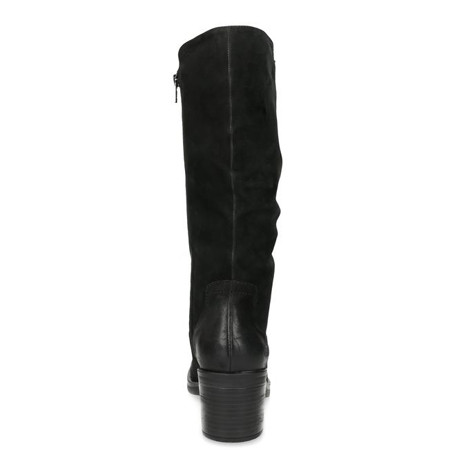 Kožené dámské kozačky na stabilním podpatku bata, černá, 696-6660 - 15