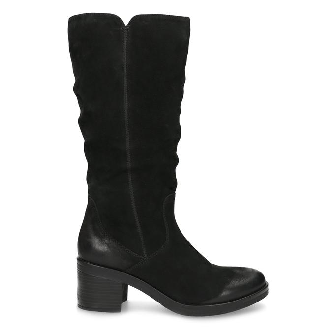 Kožené dámské kozačky na stabilním podpatku bata, černá, 696-6660 - 19