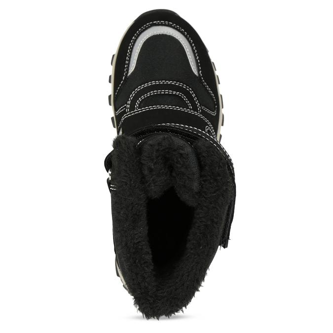 Černá dětská zimní obuv s prošitím mini-b, černá, 491-6667 - 17