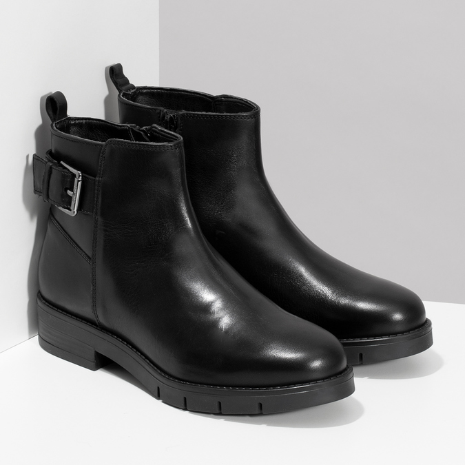 Kožená dámská kotníčková obuv černá flexible, černá, 594-6158 - 26