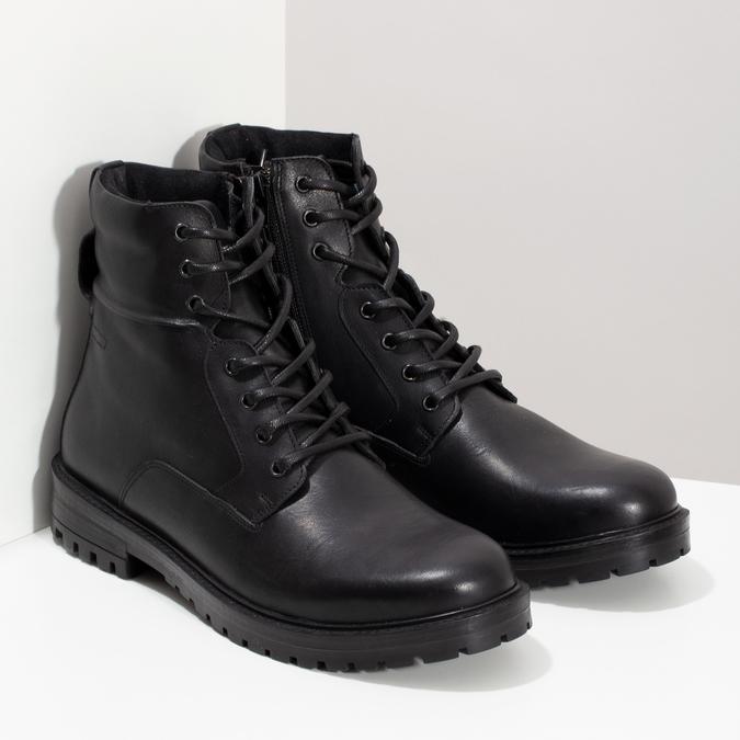 Zimní kožená kotníková obuv černá bata, černá, 896-6731 - 26
