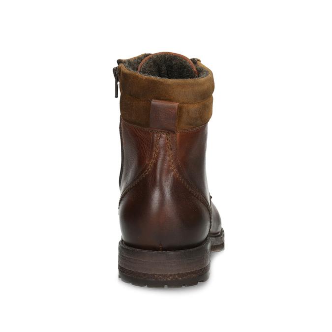 Hnědá pánská kožená zimní obuv bata, hnědá, 896-3732 - 15