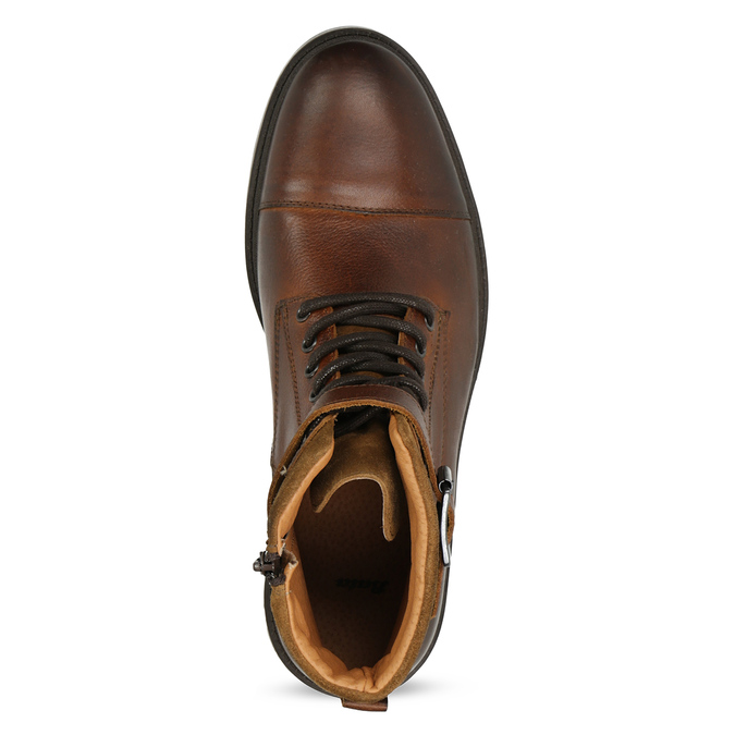 Hnědá pánská kožená kotníčková obuv bata, hnědá, 896-3731 - 17