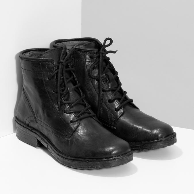 Dámská kožená kotníčková obuv se šněrováním bata, černá, 596-6740 - 26