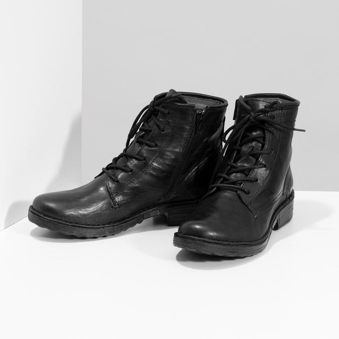 Dámská kožená kotníčková obuv se šněrováním bata, černá, 596-6740 - 16