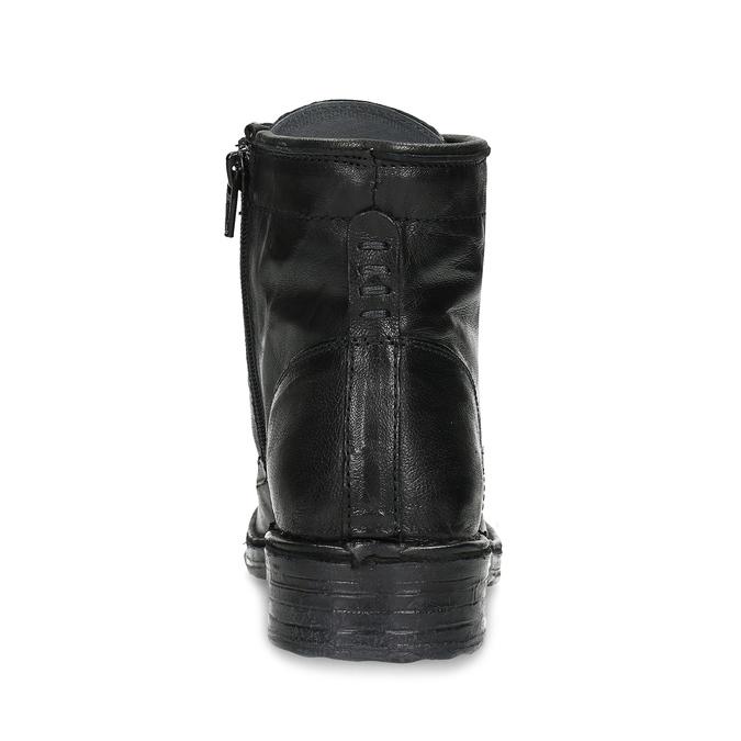 Dámská kožená kotníčková obuv se šněrováním bata, černá, 596-6740 - 15