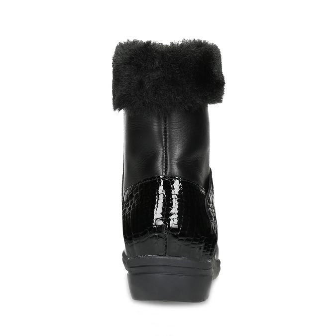 Dámské kožené zimní boty s kožíškem comfit, černá, 594-6710 - 15