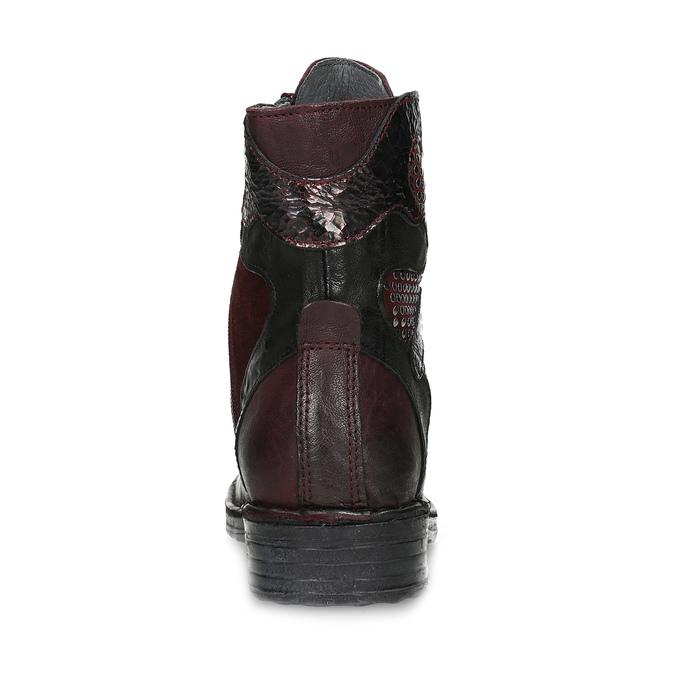 Vínová kožená dámská kotníčková obuv bata, červená, 596-5741 - 15