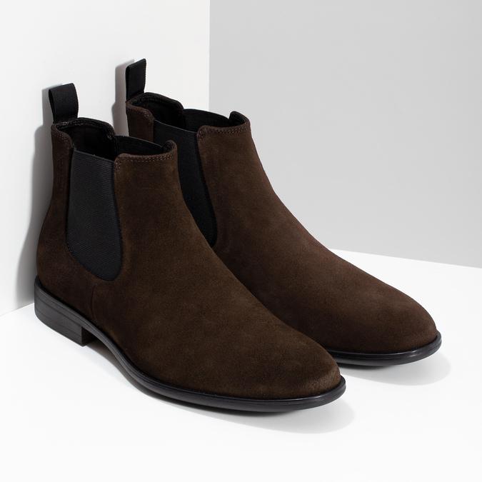 Hnědá kožená pánská Chelsea obuv vagabond, hnědá, 813-4010 - 26