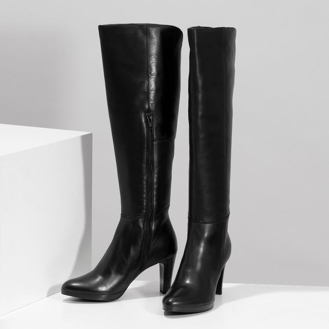 Kožené kozačky na podpatku černé bata, černá, 794-6657 - 16
