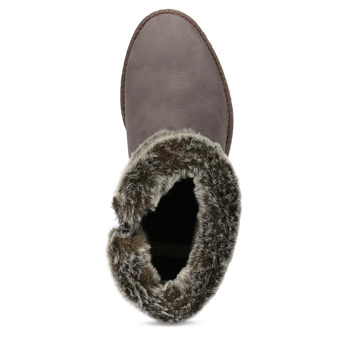 Kožená dámská zimní obuv s kožíškem bata, hnědá, 596-3704 - 17