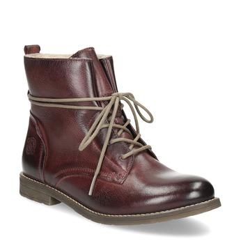 Kožená dámská kotníčková obuv se zateplením bata, červená, 596-5702 - 13