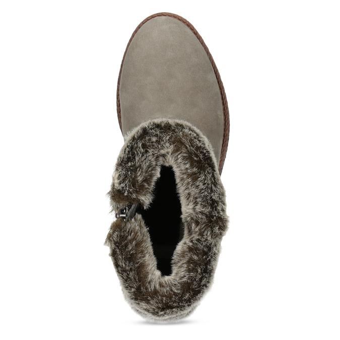 Dámská kožená zimní obuv s kožíškem bata, hnědá, 596-8704 - 17