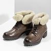 Dámská kožená kotníčková obuv s kožíškem bata, hnědá, 694-4669 - 16