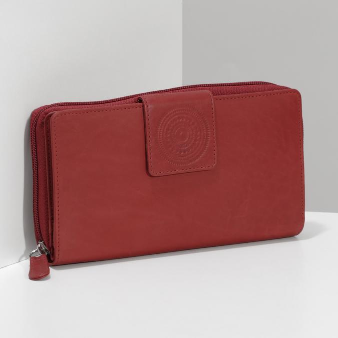 Kožená dámská peněženka s mandalou červená bata, červená, 944-5615 - 17