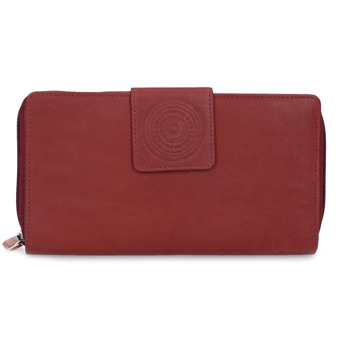 Kožená dámská peněženka s mandalou červená bata, červená, 944-5615 - 26