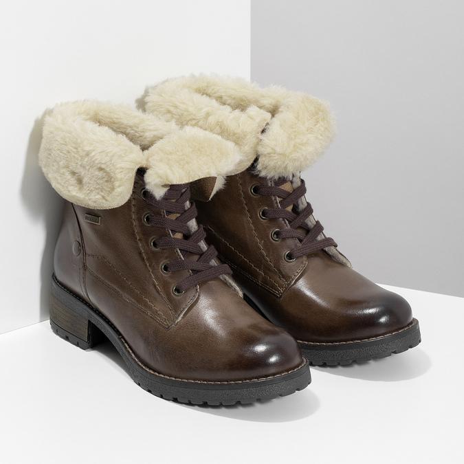 Dámská kožená kotníčková obuv s kožíškem bata, hnědá, 694-4669 - 26