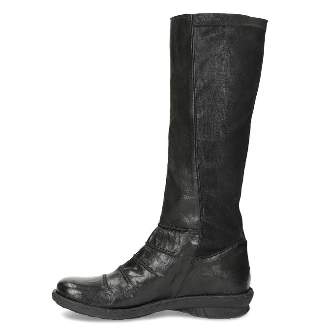 Černé kožené dámské kozačky s prošitím bata, černá, 596-6698 - 17