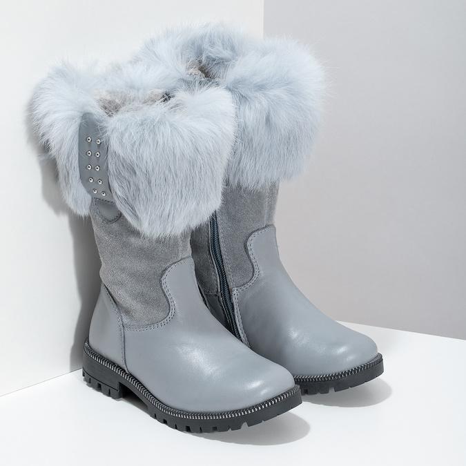 Dětské kožené zimní kozačky s kožíškem mini-b, šedá, 394-2202 - 26