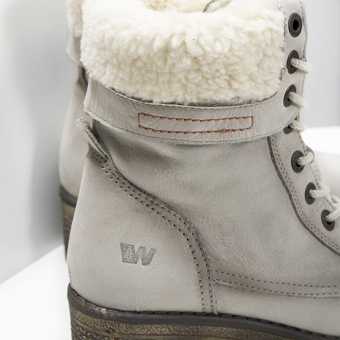 Kožená zimní obuv s kožíškem weinbrenner, béžová, 696-3336 - 16