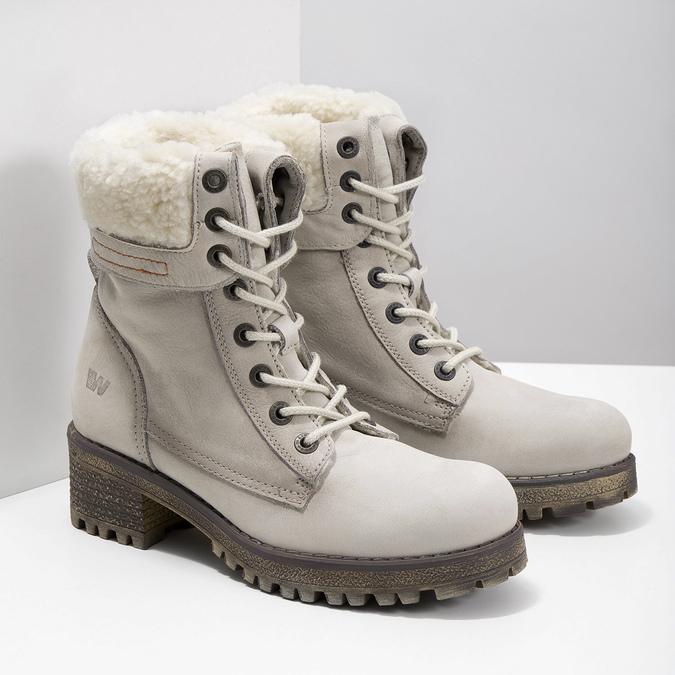 Kožená zimní obuv s kožíškem weinbrenner, béžová, 696-3336 - 26