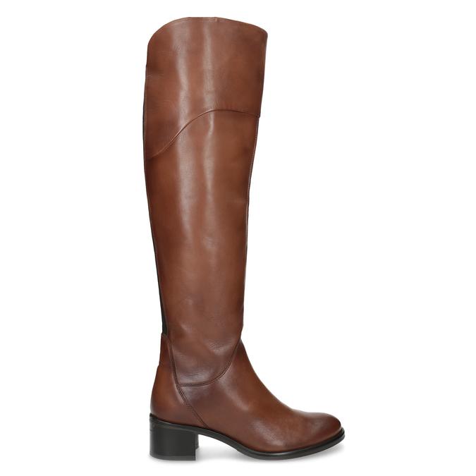 Kožené kozačky nad koleno hnědé bata, hnědá, 694-4666 - 19