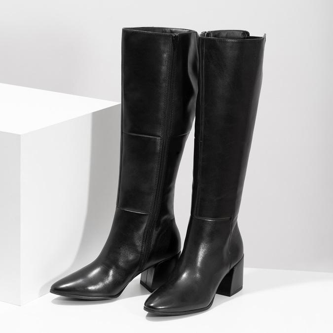 Kožené černé kozačky s decentním prošitím bata, černá, 694-6673 - 16
