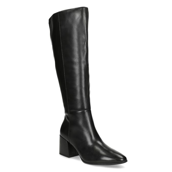Kožené černé kozačky s decentním prošitím bata, černá, 694-6673 - 13