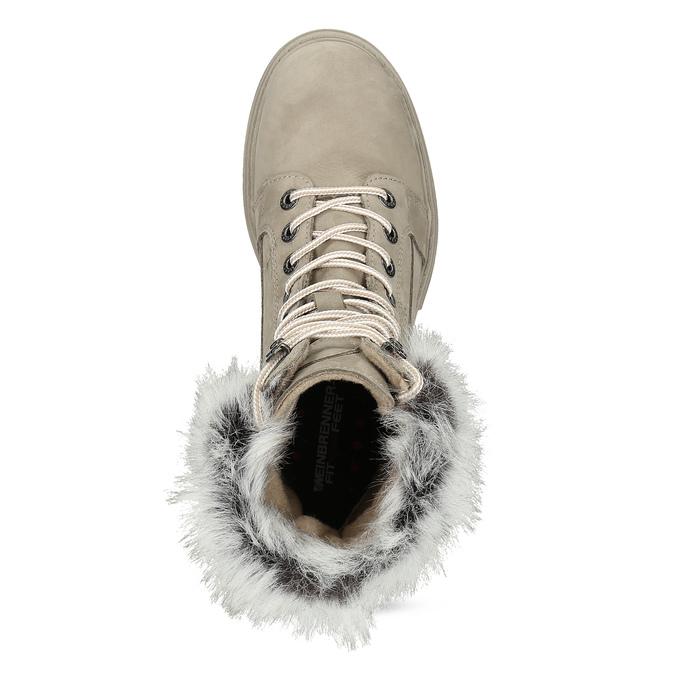 Béžové kožené dámské zimní kozačky weinbrenner, béžová, 596-2753 - 17
