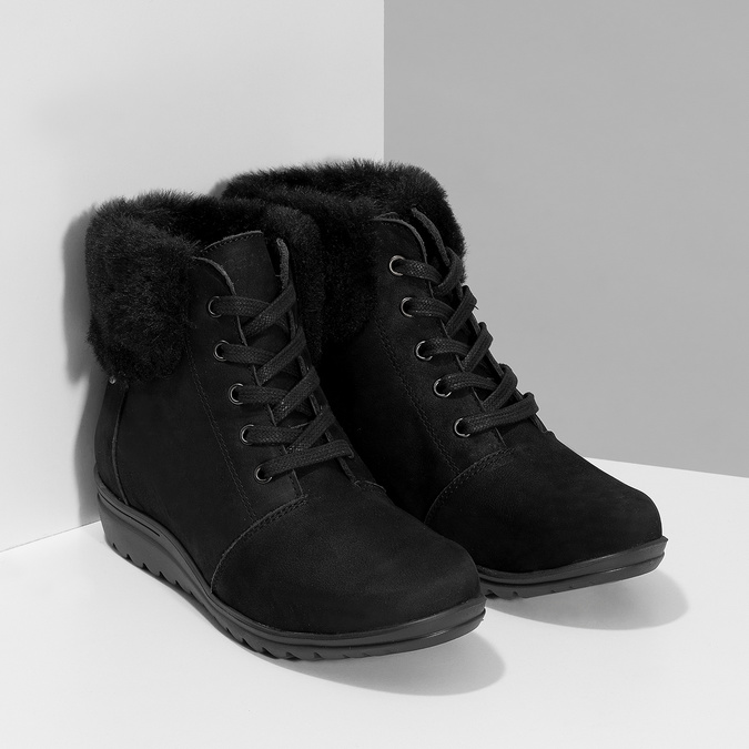 Kotníčková dámská kožená obuv comfit, černá, 596-6711 - 26