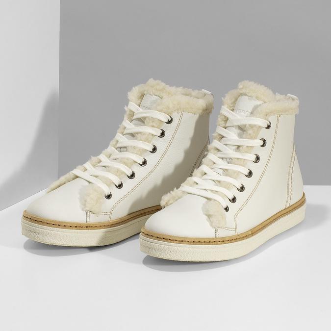 Bílá dámská kožená kotníčková obuv weinbrenner, bílá, 596-1754 - 16