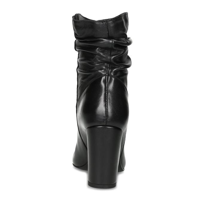 Černé kožené kozačky s řasením bata, černá, 794-6663 - 15