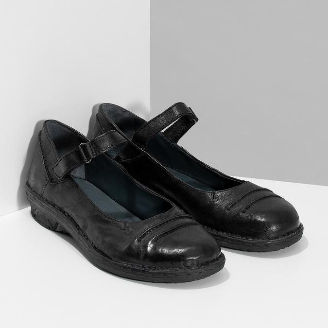 Kožené černé baleríny s páskem bata, černá, 526-6664 - 26