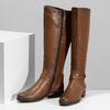 Hnědé kožené dámské kozačky bata, hnědá, 594-4676 - 16