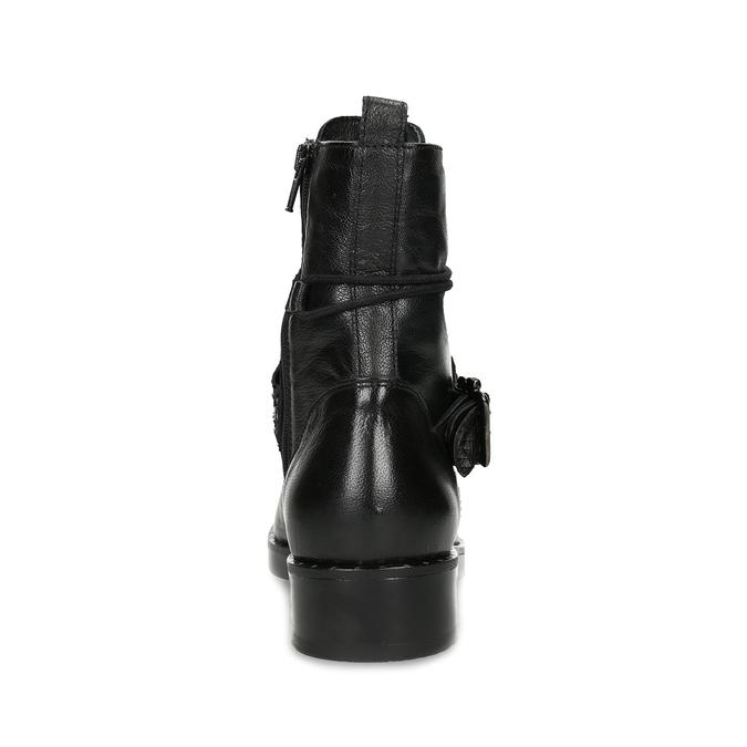 Kožená dámská kotníčková obuv s přezkou bata, černá, 596-6724 - 15
