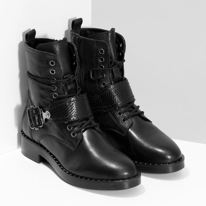 Kožená dámská kotníčková obuv s přezkou bata, černá, 596-6724 - 26