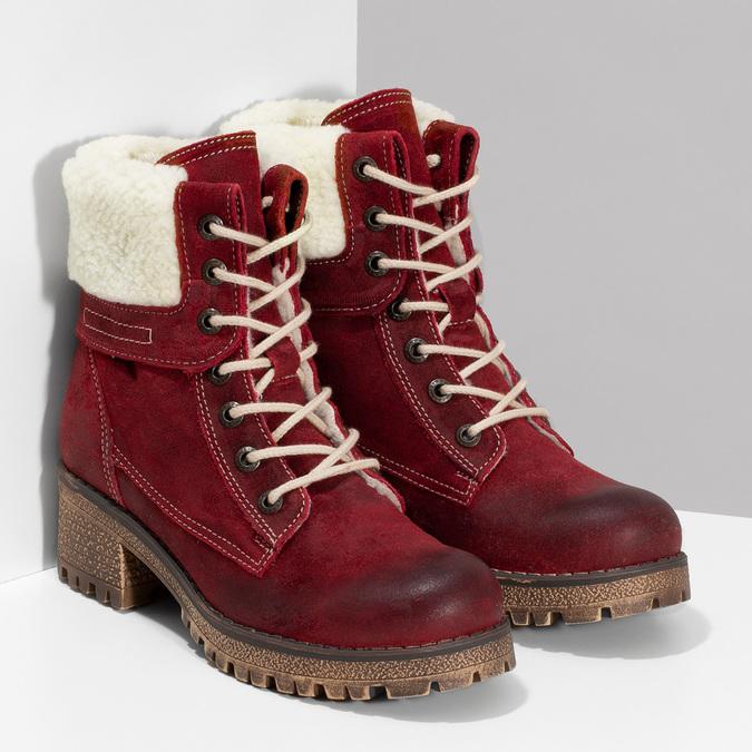 Vínová kožená kotníčková dámská obuv weinbrenner, červená, 696-5667 - 26