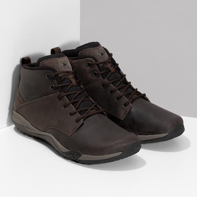 Kotníčková hnědá kožená pánská obuv merrell, hnědá, 806-4102 - 26