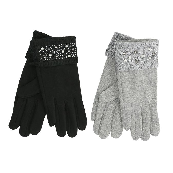 Dámské rukavice s perličkovým lemem bata, vícebarevné, 909-0513 - 13