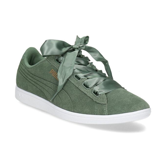 Puma Dámské kožené tenisky s mašlí khaki - Všechny boty  4782383a76