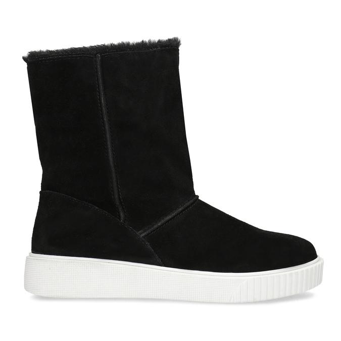 Zimní kožená obuv černá s bílou podešví bata, černá, 593-6613 - 19