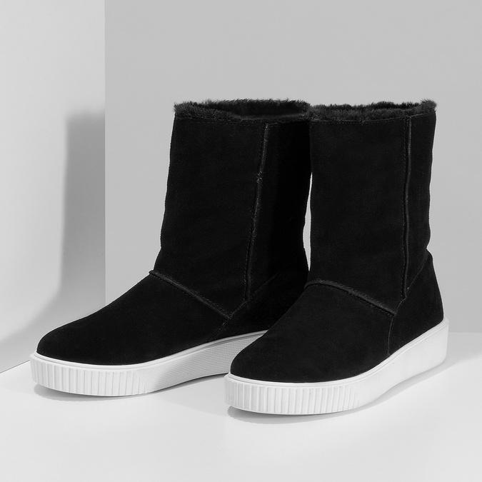 Zimní kožená obuv černá s bílou podešví bata, černá, 593-6613 - 16