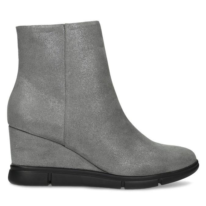 Dámská kotníčková obuv na klínku stříbrná bata-b-flex, stříbrná, 799-2642 - 19